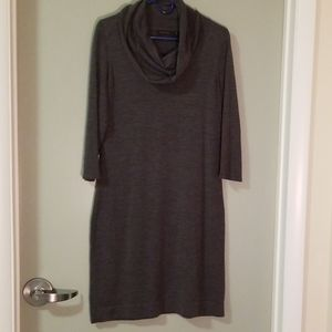 Sweater dress with cowl neck